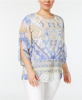 JM Collection Plus Size Printed Split-Sleeve Top, Only at Macy's