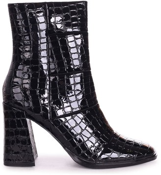 Linzi SIMPLY - Black Patent Croc Square Toe Boot With Block Heel