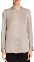 Eileen Fisher Mandarin Collar Textured Silk Blouse