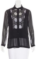 Yigal Azrouel Lace-Trimmed Silk Top