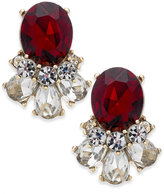 Charter Club Gold-Tone Clear & Red Crystal Stud Earrings, Created for Macy's
