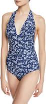 Shoshanna Rose Garden Ruched Halter One-Piece Swimsuit