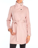 Ivanka Trump Belted Wool Blend Coat with Funnel Neck