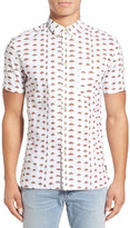 Barney Cools &Beach& Extra Trim Fit Short Sleeve Woven Print