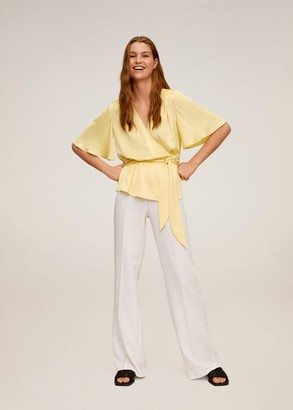 MANGO Wrap V-neckline blouse yellow - 2 - Women