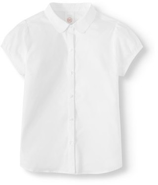 Wonder Nation Girls School Uniform Short Sleeve Stretch Poplin Button-Up Blouse, Sizes 4-18