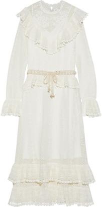 Zimmermann Allia Belted Ruffled Crocheted Maxi Dress
