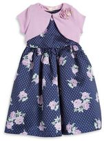 Laura Ashley Little Girl's Two-Piece Printed Dress and Sweater Jacket Set