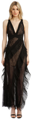 BCBGMAXAZRIA Eve Asymmetrical Contrast Dress