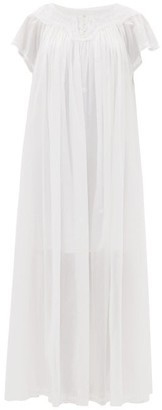 Thierry Colson Tabitha Floral-embroidered Cotton-voile Maxi Dress - Womens - White