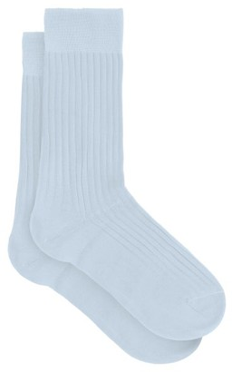 Pantherella Danvers Ribbed Knit Cotton Blend Socks - Mens - Blue