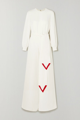 Valentino Belted Silk-cady Wide-leg Jumpsuit - Ivory