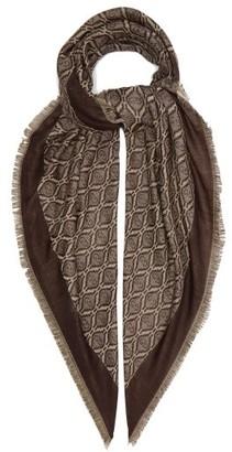 Gucci Fringed Logo-jacquard Cotton-blend Scarf - Brown Multi