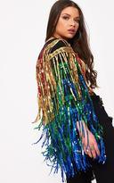 PrettyLittleThing Ellie Multi Coloured Sequin Fringed Jacket