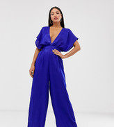 Flounce London Tall satin jumpsut with plunge front in cobalt