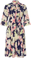 Cacharel Silk Printed Floral Pleated Dress