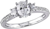 Affinity Diamond Jewelry Affinity 1.10 cttw Diamond Three-Stone Engagement Ring, 14K
