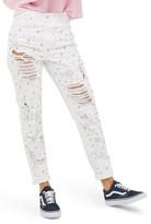 Topshop Women's Super Rip Gemstone Mom Jeans