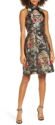 Chi Chi London Amberly Jacquard Fit & Flare Cocktail Dress