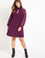 ELOQUII Slit Front Dress with Sheer Sleeves