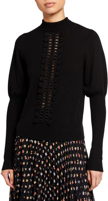 See by Chloe Embroidered Lace Mock-Neck Sweater