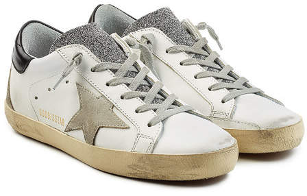 Golden Goose Super Star Leather Sneakers with Swarovski Crystals