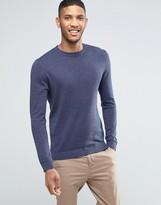 Asos Crew Neck Sweater in Navy Twist Cotton