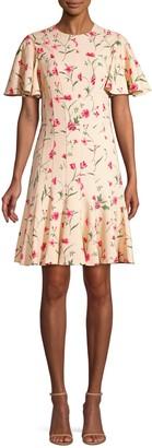 Michael Kors Stemmed Floral Stretch Cady A-Line Dress