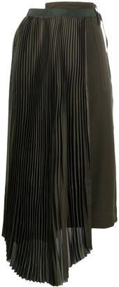 Sacai Asymmetric Pleated Midi Skirt