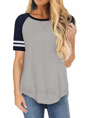 Lovezesent Tops for Women Short Sleeve Side Split Casual Loose Tunic T Shirt Blouse Grey Small UK 6 8