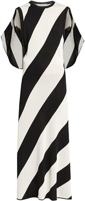 Stella McCartney Sleeveless Striped Cape-Back Knit Maxi Dress
