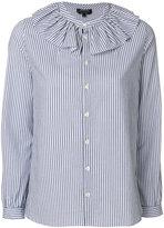 A.P.C. striped ruffle collar shirt