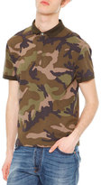 Valentino Camo-Print Short-Sleeve Polo Shirt, Green