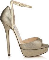 Jimmy Choo PEARL 145 Gold Shimmer Leather Platform Sandals