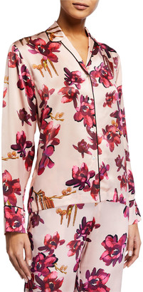 Violet & Wren Floral-Print Silk Pajama Top