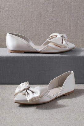 Anthropologie Ivory Satin Bow Flat