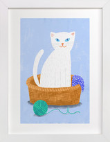 Minted White Cat in the Basket Self-Launch Children's Art Print