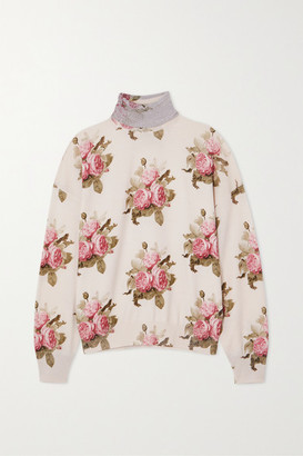 Paco Rabanne Lurex-trimmed Floral-print Wool-blend Turtleneck Top - Cream