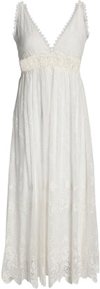 Zimmermann Lace-trimmed Broderie Anglaise Silk-chiffon Midi Dress