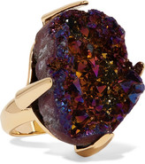 Christopher Kane Gold-tone Stone Ring - Purple