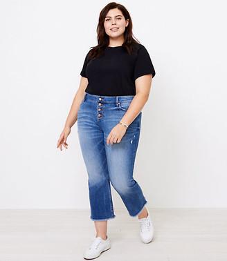 LOFT Plus Flare Crop Jeans in Authentic Light Indigo Wash