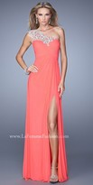 La Femme Crisscross Ruched Bodice Prom Gown