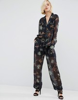 Religion Pajama Pants In Sheer Spot With Painted Thistles Co-Ord