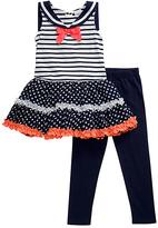 Youngland Navy & White Sailor Dress & Leggings - Infant Toddler & Girls