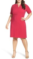 Tahari Plus Size Women's Notch Neck Sheath Dress