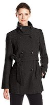 Calvin Klein Women's Double Breasted Wool Coat with Belt