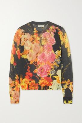 Dries Van Noten Floral-print Cotton-blend Sweater - Black