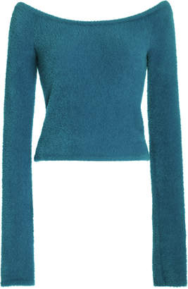 Sally LaPointe Soft Teddy Off-The-Shoulder Sweater