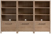 Pottery Barn Kids Charlie XW Storage Wall 3 Drawer Bases & 3 Bookcase Cubbies, Water-Based Smoked Gray