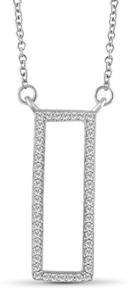 JewelonFire 1/5 Ct Genuine White Diamond Geometric Necklace in Sterling Silver - Assorted Color